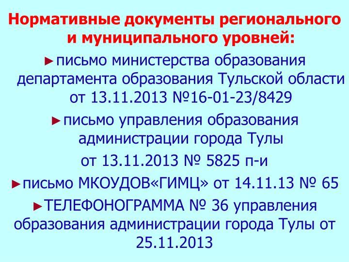Нормативные документы регионального и муниципального уровней: