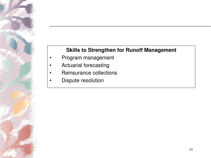 Skills to Strengthen for Runoff Management