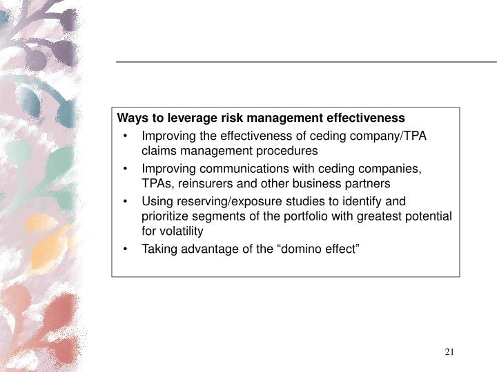 Ways to leverage risk management effectiveness