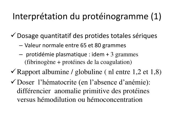 Interprétation du protéinogramme (1)