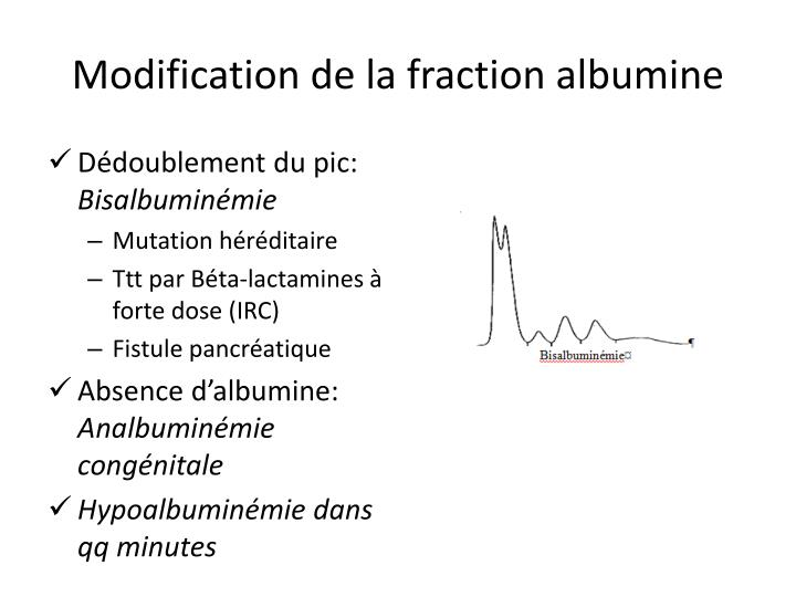 Modification de la fraction albumine