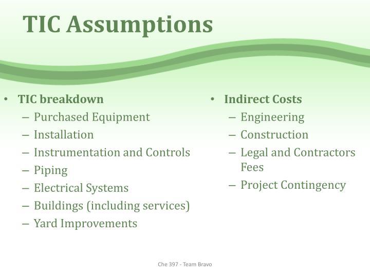 TIC Assumptions