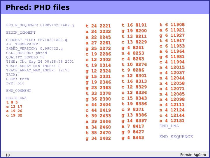 Phred: PHD files