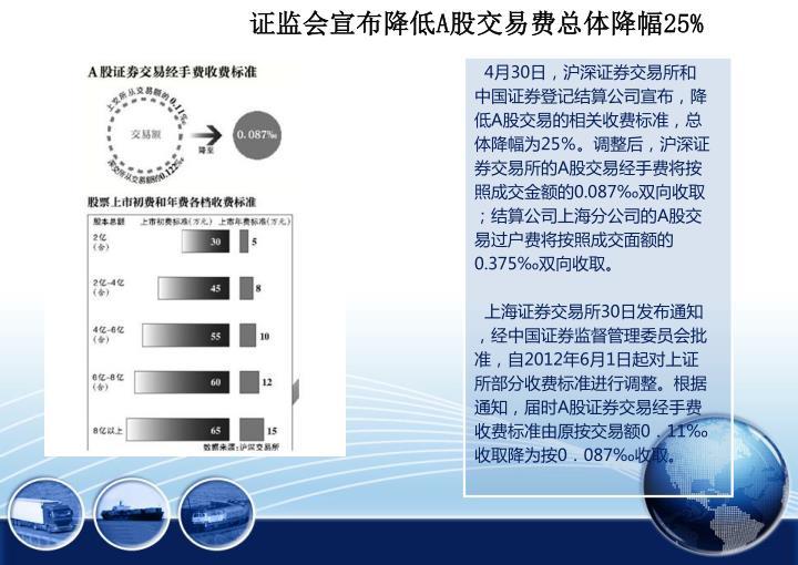 证监会宣布降低A股交易费总体降幅25%