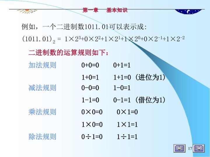 二进制数的运算规则如下: