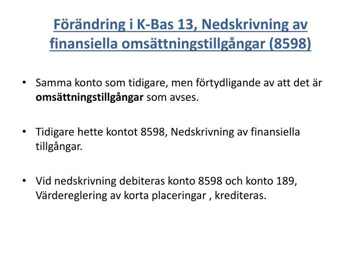 Förändring i K-Bas 13, Nedskrivning av finansiella omsättningstillgångar (8598)