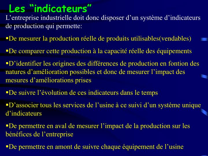 "Les ""indicateurs"""