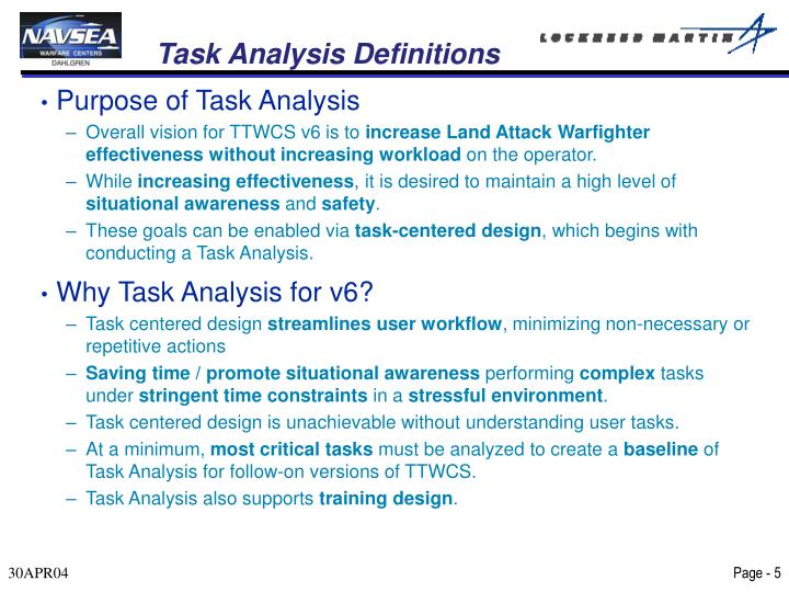 Task Analysis Definitions