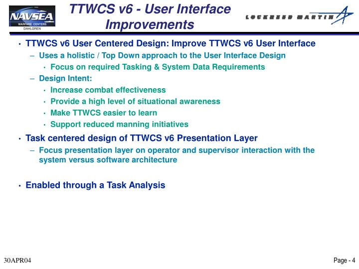 TTWCS v6 - User Interface Improvements