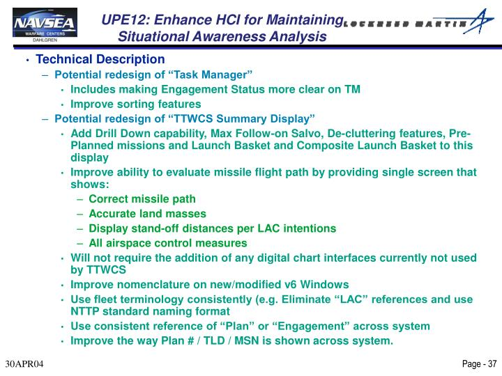 UPE12: Enhance HCI for Maintaining Situational Awareness Analysis