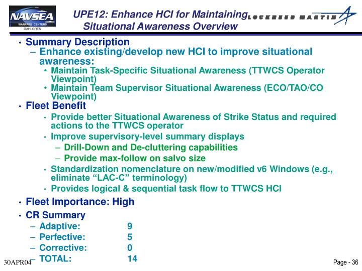 UPE12: Enhance HCI for Maintaining Situational Awareness Overview