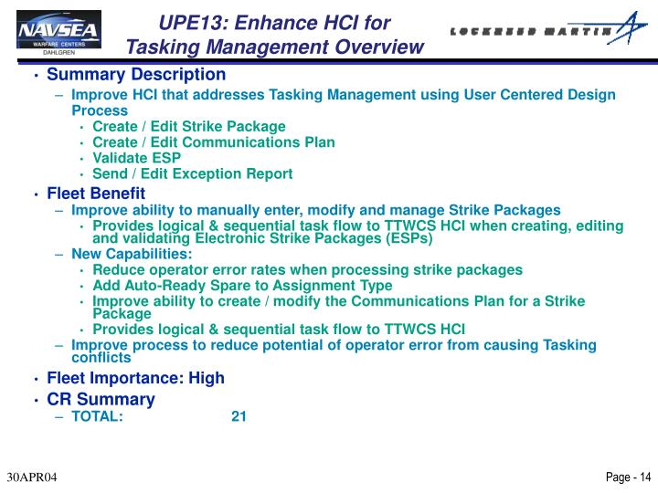 UPE13: Enhance HCI for