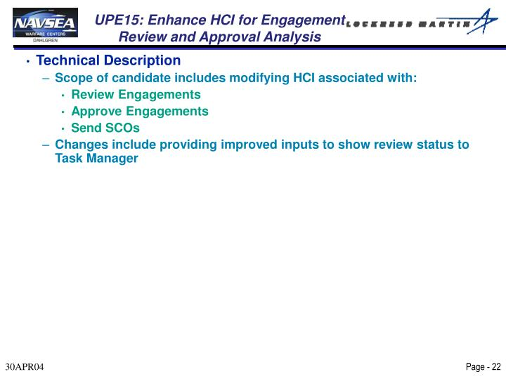UPE15: Enhance HCI for Engagement Review and Approval Analysis