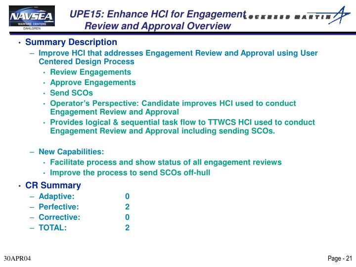 UPE15: Enhance HCI for Engagement Review and Approval Overview