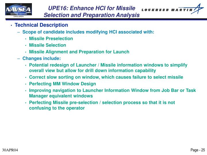UPE16: Enhance HCI for Missile Selection and Preparation Analysis
