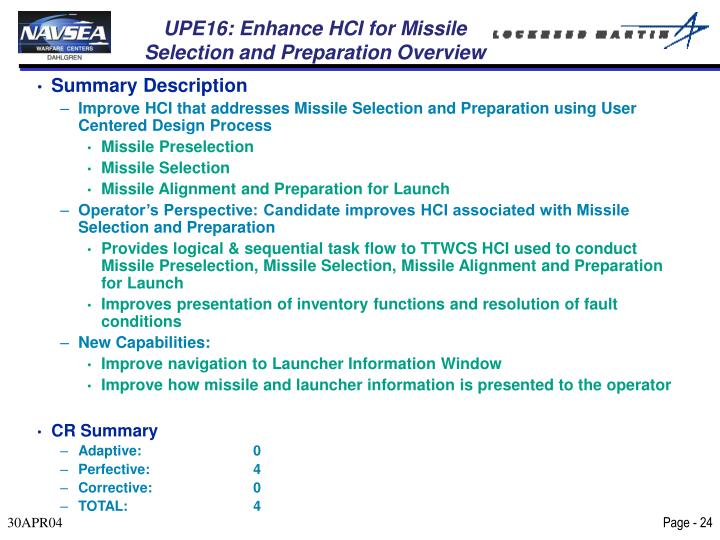 UPE16: Enhance HCI for Missile Selection and Preparation Overview