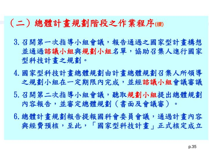 (二)總體計畫規劃階段之作業程序