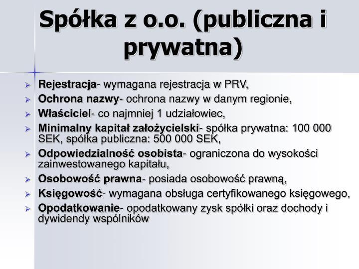 Spółka z o.o. (publiczna i prywatna)
