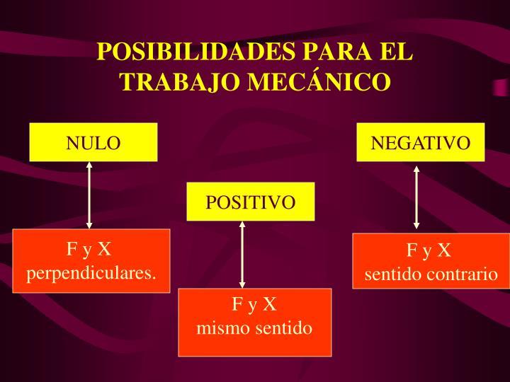 POSIBILIDADES PARA EL TRABAJO MECNICO