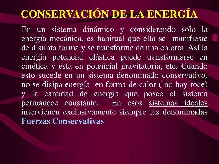 CONSERVACIN DE LA ENERGA