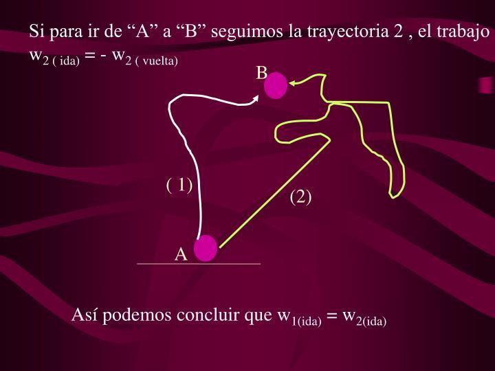 Si para ir de A a B seguimos la trayectoria 2 , el trabajo