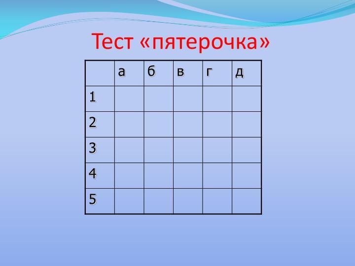 Тест «пятерочка»