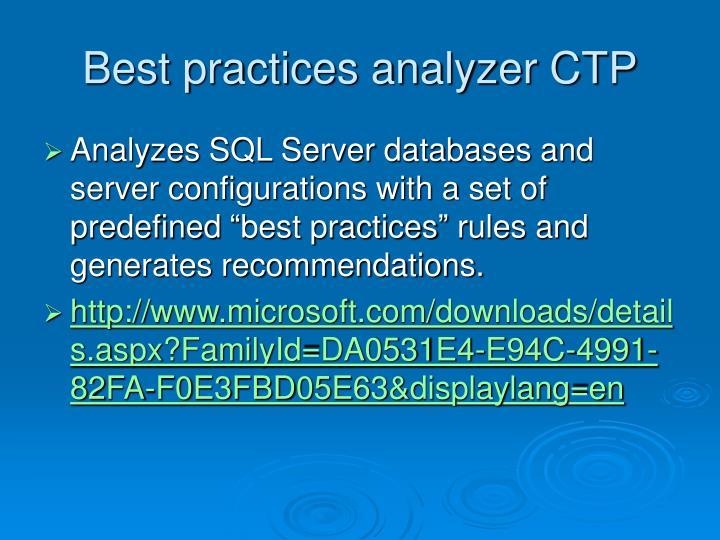 Best practices analyzer CTP