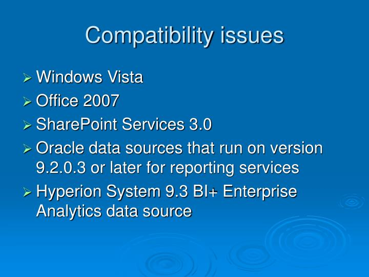 Compatibility issues