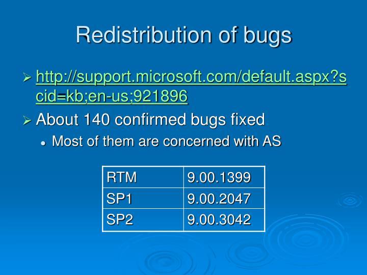 Redistribution of bugs