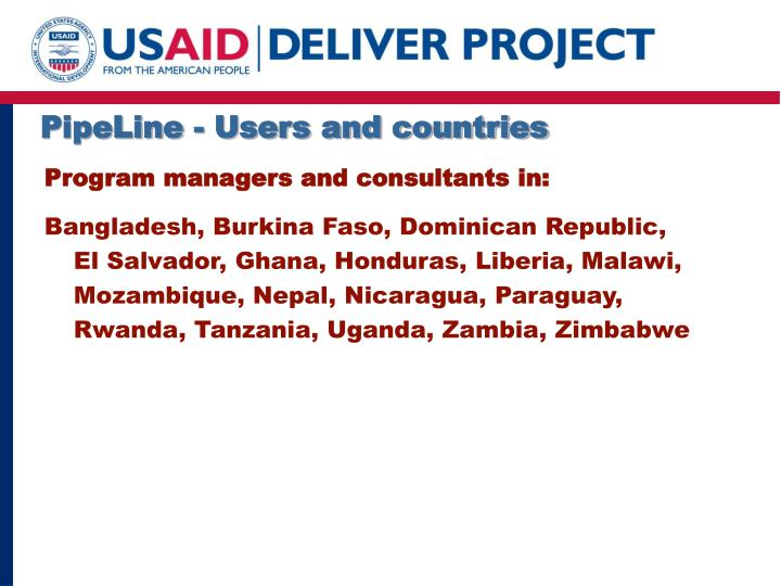 PipeLine - Users and countries