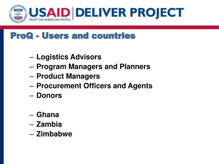 ProQ - Users and countries