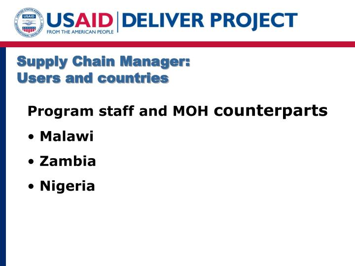 Supply Chain Manager: