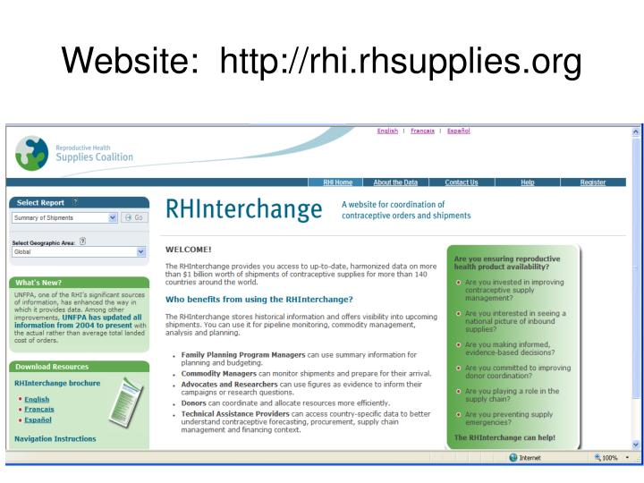 Website:  http://rhi.rhsupplies.org