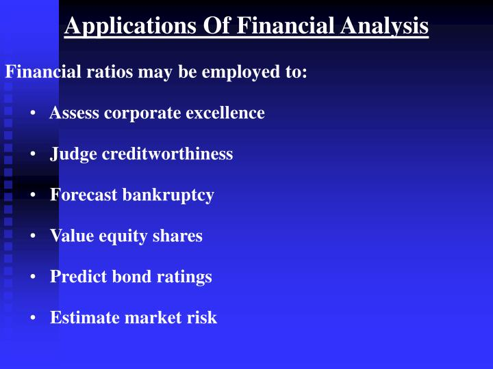 Applications Of Financial Analysis