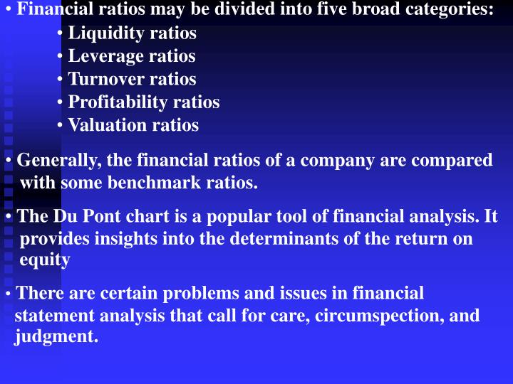 Financial ratios may be divided into five broad categories: