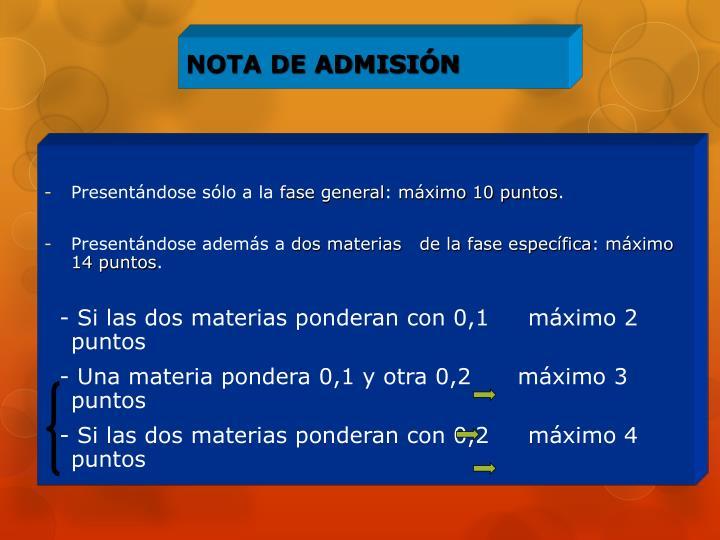NOTA DE ADMISIÓN