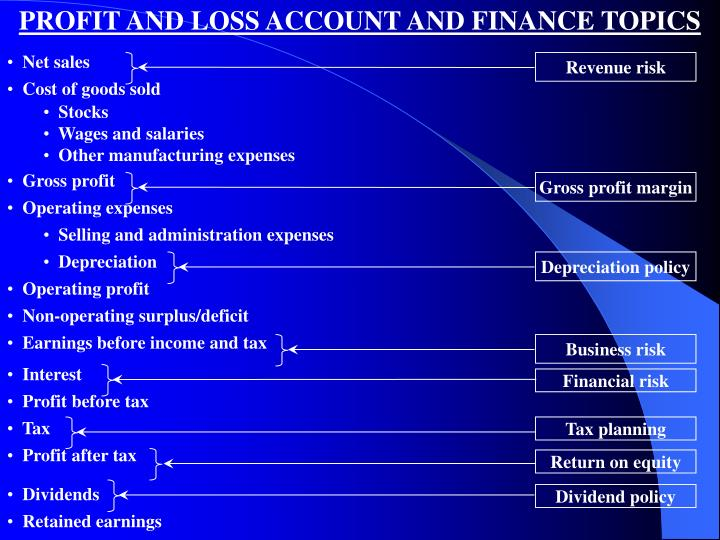 PROFIT AND LOSS ACCOUNT AND FINANCE TOPICS