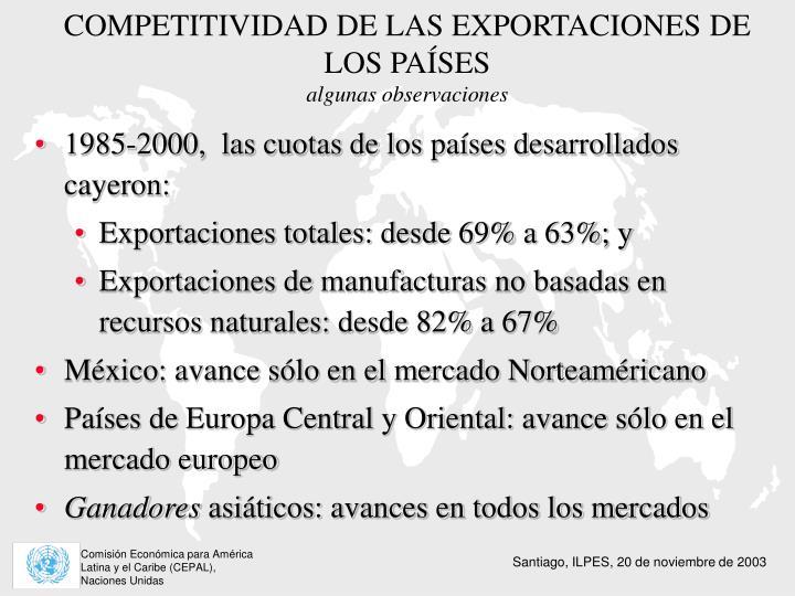 COMPETITIVIDAD DE LAS EXPORTACIONES DE LOS PAÍSES