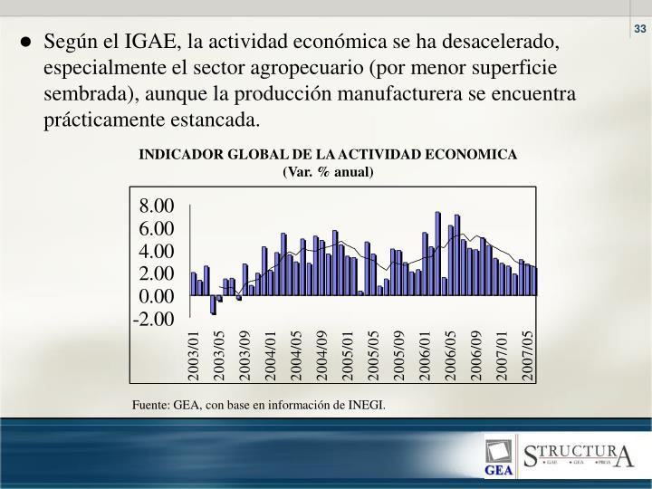 Segn el IGAE, la actividad econmica se ha desacelerado, especialmente el sector agropecuario (por menor superficie sembrada), aunque la produccin manufacturera se encuentra prcticamente estancada.