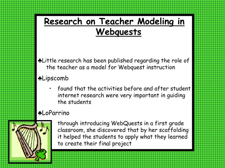 Research on Teacher Modeling in Webquests