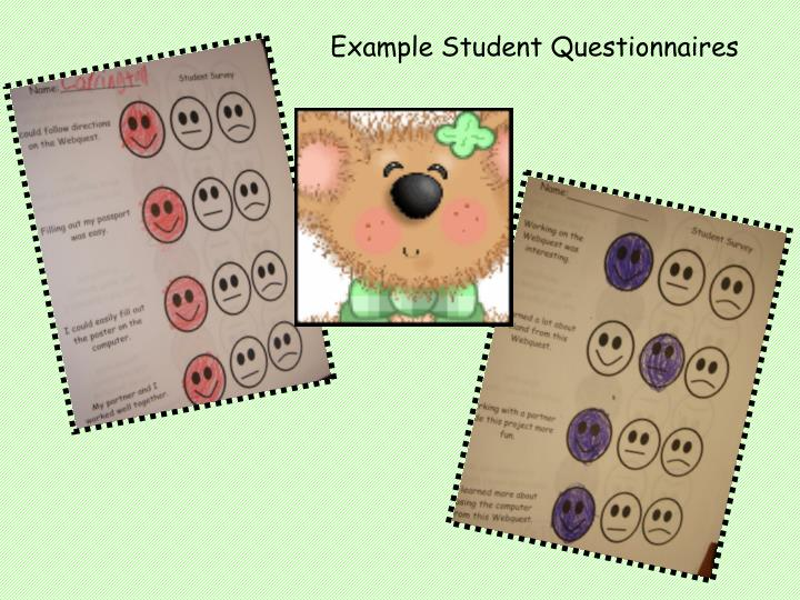 Example Student Questionnaires