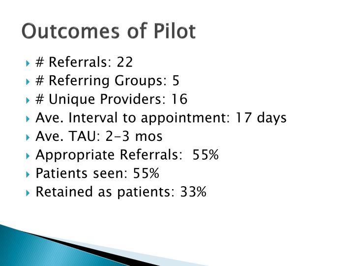 Outcomes of Pilot
