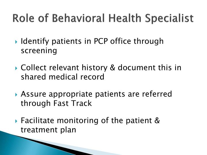 Role of Behavioral Health Specialist