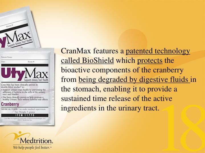 CranMax features a