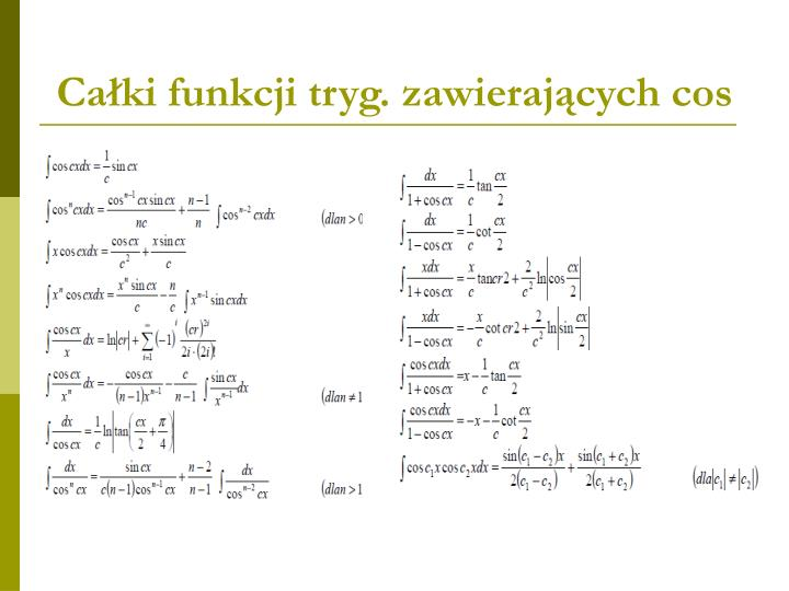 Całki funkcji tryg. zawierających cos