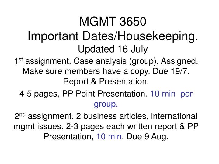 Mgmt 3650 important dates housekeeping updated 16 july