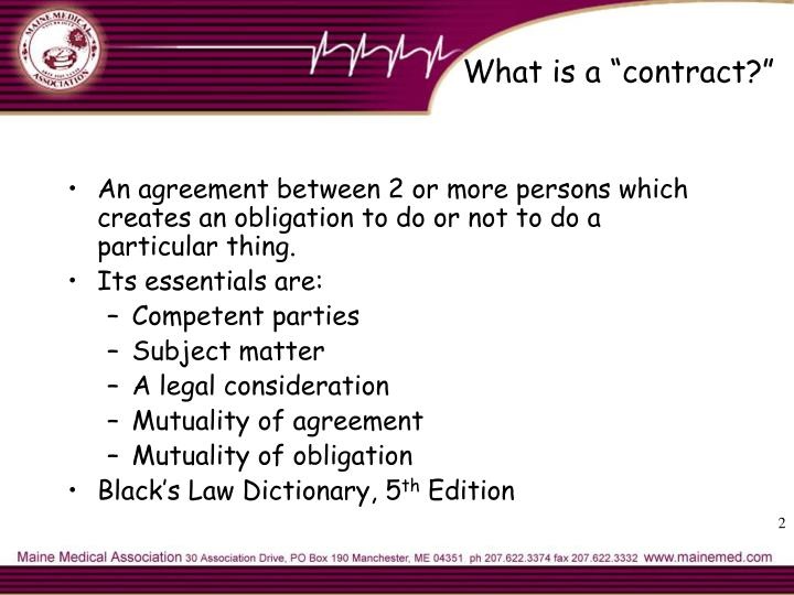 "What is a ""contract?"""
