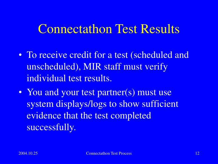 Connectathon Test Results