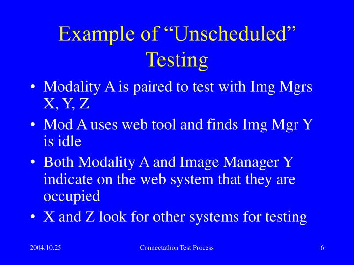 "Example of ""Unscheduled"" Testing"