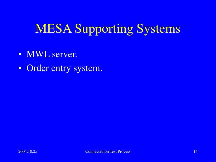 MESA Supporting Systems